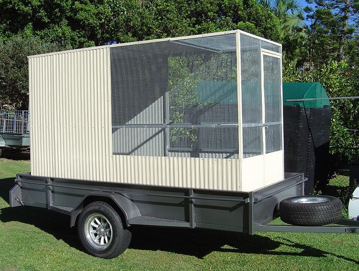 Conventional Aviary Flat partial Cream Roof on trailer