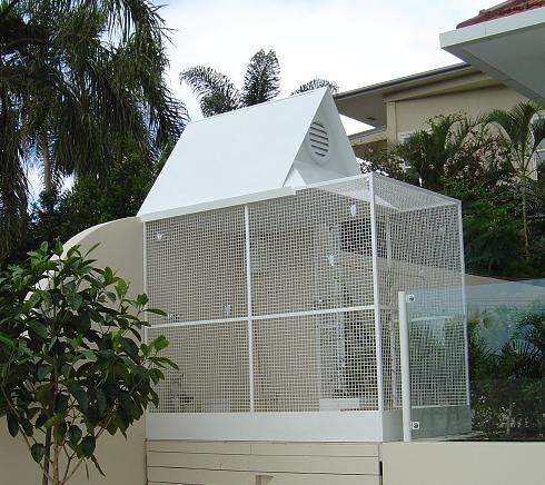 Ornamental White Podwer Coated Aviary - Fancy Roof - Side view