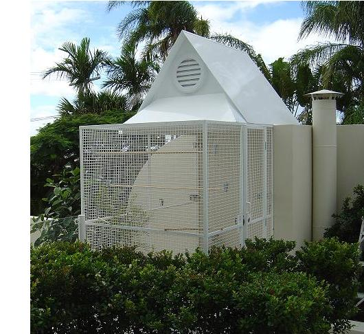 Ornamental White Powdercoated Aviary